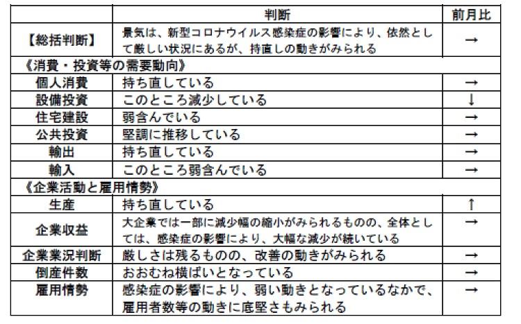 地内閣府「月例経済報告」(令和2年11月)