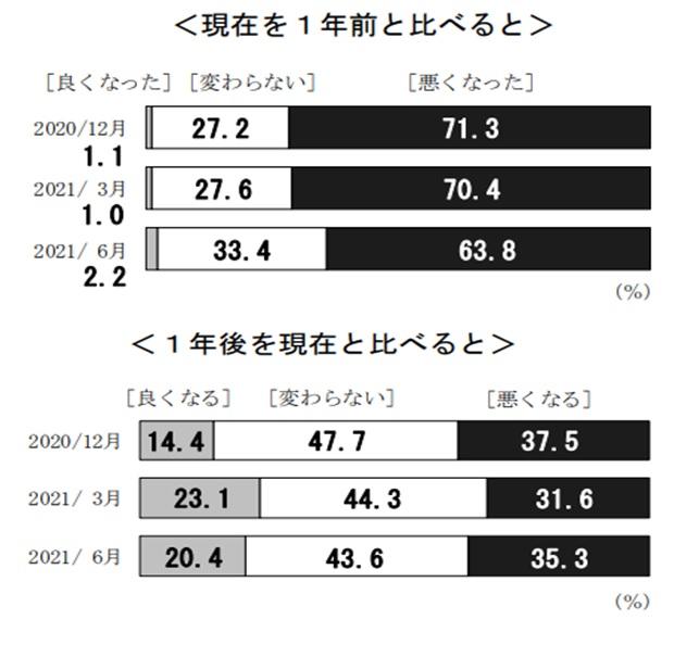 日銀「生活意識に関するアンケート調査」(21年6月)